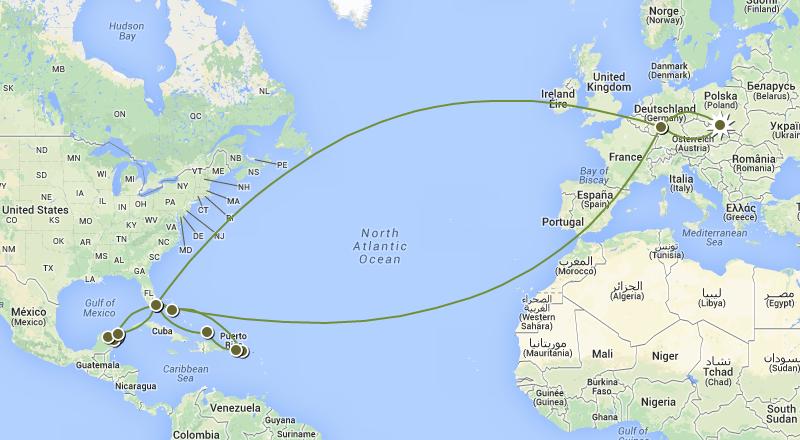 Travel Map ( EU, US, CAR, MX)